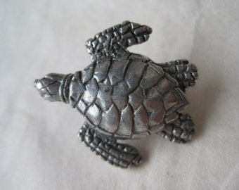 Sea Turtle Pewter Brooch Tortoise Vintage Pin Lapel Clift