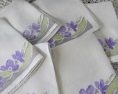 Wow...Lowered Price...4 Vintage Napkins with Violets, Purple and Green Napkins