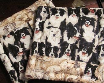 Dog Fabric Border Collie Fabric Pair of Potholders, Sheep Fabric