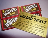 Wonka Bar & Golden Ticket invitations printed Willy Wonka invitation printing Willy Wonka birthday party Charlie and the Chocolate Factory