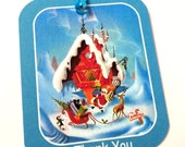 9 Christmas Gift Tags, North Pole Santa, Blue Red White, Party Favor Tags, Hang Tags