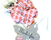15 Gift Tags, Butterflies in Pink and Gray, Girls Ballerinas, Thank You, Hang Tags, Party Favor Tags