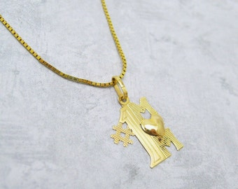 14K Gold Mom Necklace Number 1 Mom Vintage Jewelry N6851