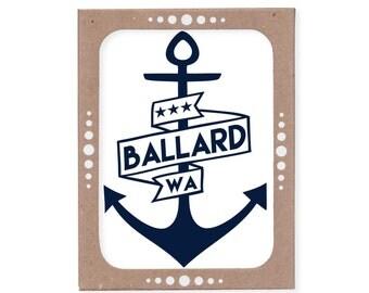 Set of Six Ballard Anchor Cards in Navy Blue