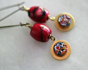 50% Off Red Coral Earrings, Millefiore Dangles, Gold Brass, Quirky, Multi-Colored, Bohemian Jewelry