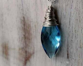 Aquamarine Blue Crystal Pendant  March Birthstone  Swarovski Aqua Blue  Sterling Silver  Valentine  Gift Box