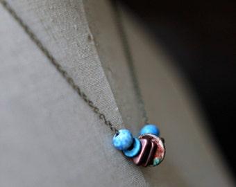 Indigo Blue and Copper Necklace, Ceramic Beads, Denim Blue, Rustic Copper, Speckled, Triangle Beads, Antiqued Brass Chain
