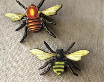 Bee Brooch Set, Honey Bee Pin, Vintage Bee Illustrations