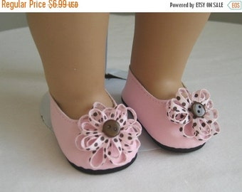 15% off sale Shoes Made to fit Bitty Baby and Bitty Twins Dolls Pink and Brown Polka Dot Flower Shoes Fit Bitty Baby and Bitty Twins Dolls