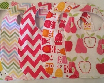 Baby Girl Gift Set - pears owls birds hot pink chevron 5 Bibs with snap closures and white minky backing READY TO SHIP