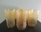 Set of seven amber yellow textured drinking glasses- mid century, textured design, squared bottom, very good condition