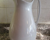 Large old white ironstone pitcher- solid, beautiful, fine condition, Meakin, England