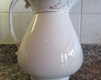 Old white ironstone pitcher with gold trim- beautiful, made in England, solid, great condition