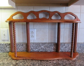 """Reduced...Nice vintage wood wall shelf- top and lower shelf, ornate """"columns"""", ready to hang, nice vintage condition"""