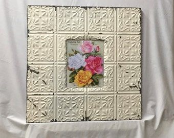 TIN CEILING Picture Frame Cream 8x10 Shabby Recycled chic 331-16