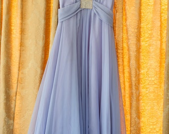 Vintage Gown - Bridesmaid Prom Coral Purple Lilac Rhinestone