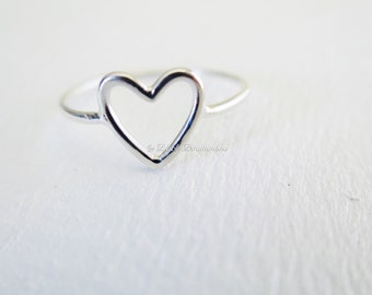 Sterling Silver Open Heart Ring - Solid 925 - Insurance Included