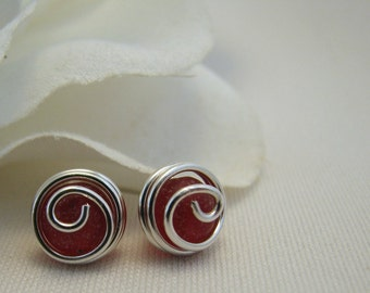 Red Stud Earrings Cultured Sea Glass Choice of Sterling Silver or 14K Gold Filled