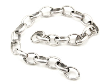 Burnished Silver Curb Chain with Jumbo Links - 11 Inches Long - 12x6x4mm Links