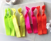 Neon Brights - 8 Solid Elastic Hair Ties in Bright Green, Yellow, Hot Pink + Tangerine by Mandizzle