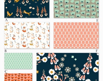 Navy, Peach and Mint Organic Custom Crib Baby Bedding, Woodland Foxglove in Peach Collection