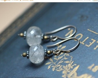 On Sale Tourmalinated Quartz Earrings Antiqued Sterling Silver Gemstone Earrings Rustic Jewelry