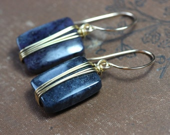 Dumortierite Earrings Gold Wire Wrapped Indigo Blue Gemstone Earrings Gold and Purple Earrings