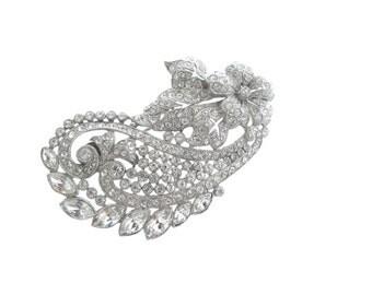 Antique Art Nouveau Brooch, Original 1900 Fine Vintage Rhinestone Jewelry, Statement Wedding Jewelry,  Bridal Brooch, Sash Pin