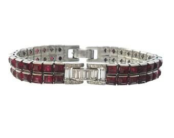 Antique Ruby Art Deco Bracelet, 1920s Rhinestone Designer Deco Jewelry, Vintage Ruby Wedding Jewelry, Deco Jewellery