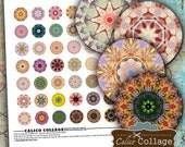 Mandalas Digital Collage Sheet for Glass Dome Pendants, Resin Jewelry, Bottle Cap Bezel Settings, Digital Sheet, Printable Paper, Calico Art
