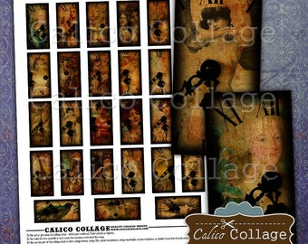 Behind the Clock 1x2 Collage Sheet, Domino Collage Sheet, Digital Collage Sheet, Halloween Images, Steampunk Images, Craft Paper