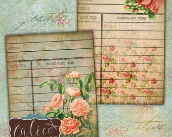 Roses Collage Sheet, Library Cards, Printable Ephemera, Digital Library Card, Collage Sheet, Junk journal, Digital Tags, Vintage Tags