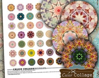 Mandalas, Digital Collage, 1 Inch Circles, Bottlecap Images, Printable Download, Digital Mandalas, Instant Download, Collage Sheet