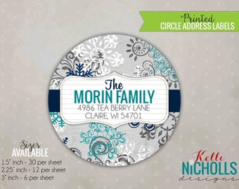 Teal & Navy Blue Ornamental Snowflake, Custom Holiday Sticker, Fancy Circle Address Label #C107