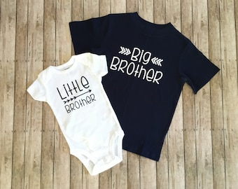 Big Brother Shirt and Little Brother Bodysuit, Sibling Shirt Set, Big Bro Shirt, Little Bro Onesie, New Baby Announcement, Big Brother Shirt
