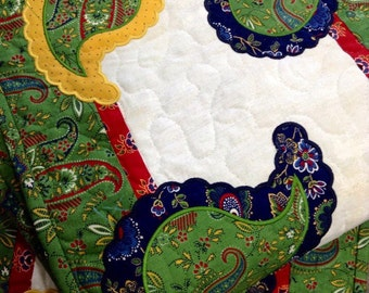 Quilted PAISLEYS Table Runner . . . applique PAISLETS . . . Bright Primary Colors . . . Table Decor