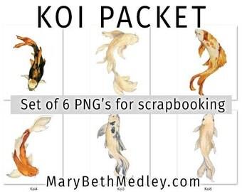 Set of 6 PNGs Butterfly Koi fish digital scrapbooking files