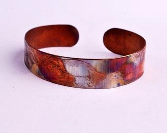 New Etched copper badger cuff bracelet, slim size