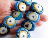 37 Vintage Evil Eye Glass Beads Handmade in Turkey - Extra Large, Flat Oval Beads in Unusual Color - Aqua, Gold, White and Black - Graduated