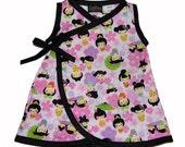 Japanese Clothing- Pink Kokeshi Doll - Geisha Kimono - Baby Girl Dress - Harajuku Dress - Japanese Baby Clothes - nb to 18m - On SALE