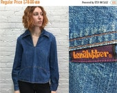 Valentine SALE vintage 70s Landlubber denim shirt / 70s denim shirt peasant top woodstock revival
