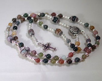Gemstone Jewelry - 5 Decade Rosary - Fancy Jasper - Choose Your Cross and Medal