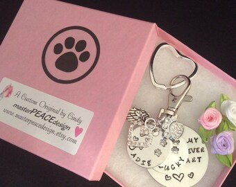 HAND STAMPED Pet Memorial Jewelry, Keychain, Pet Memorial Key Chain, Pet Memorial Gift, Loss of Dog, Cat, Pet, 6 piece 2 NAMES