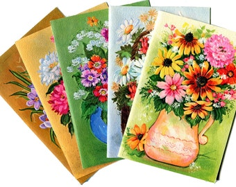 1970s Mod Flowers Greeting Cards 5 Cute Bright Floral Happy Birthday Get Well Anniversary Scrapbooking Craft Vintage Paper Stationery