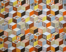 Vintage 1970s Fabric, Three Yards of Earth Tone Geometric Print Cotton Poly Fabric, Orange, Brown, Yellow, Fall Colors, Cheater Quilt Fabric