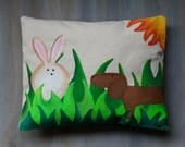 Spring  Hand Painted Pillow Dachshund SALE