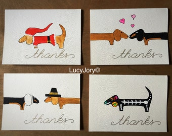 Dachshund set of 4 hand painted Thank You Cards Holidays