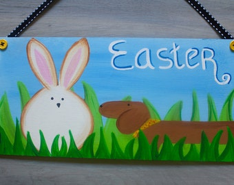 Easter Door Decoration Hanger Dachshund REDUCE