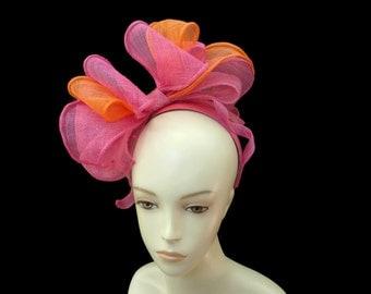 "Women's Kentucky Derby Fascinator Headband, Ascot Fashion, Bridal Fascinator Headpiece in Fuchsia Pink and Orange  -  ""Fascinator Fantaisie"""