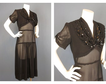 Vintage 1930s, 40s Black Semi Sheer Dress, Sequin Detail, Sz L